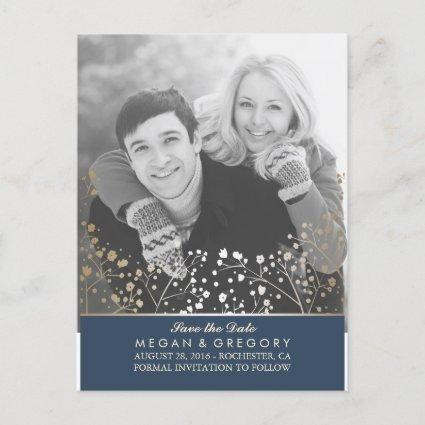 baby's breath navy and gold photo save the date announcement