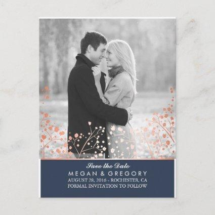 baby's breath rose gold effect photo save the date announcement