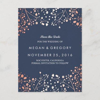 baby's breath rose gold floral navy save the date announcement
