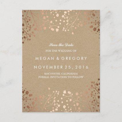 baby's breath rose gold floral save the date announcement