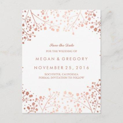 baby's breath rose gold floral save the date Announcements Cards