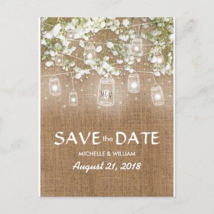 Baby's Breath Rustic Burlap Save the Date Announcement