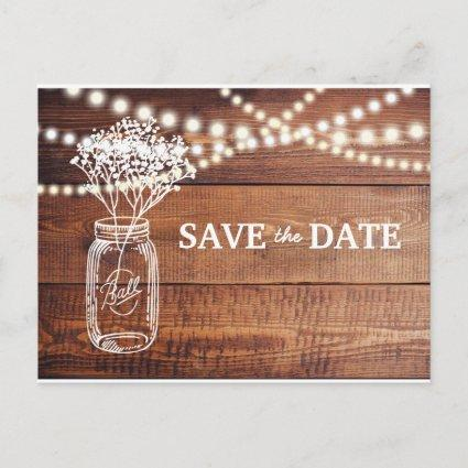 Baby's Breath Rustic Mason Jar Save the Date Announcement