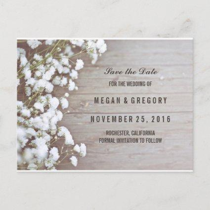 baby's breath rustic save the date announcement