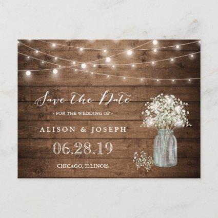 Baby's Breath Rustic String Lights Save the Date Announcements Cards