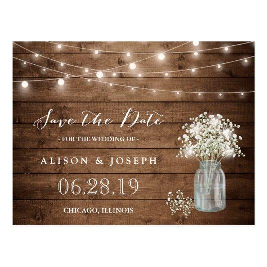 Baby's Breath Rustic String Lights Save the Date Cards