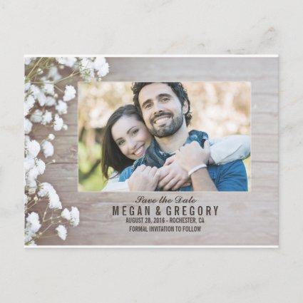 baby's breath rustic wood photo save the date announcement