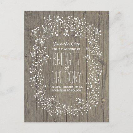 Baby's Breath Rustic Wood Save the Date Announcement