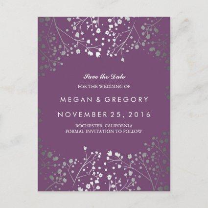 baby's breath silver and amethyst save the date announcement