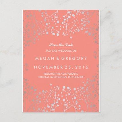 baby's breath silver and coral save the date announcement