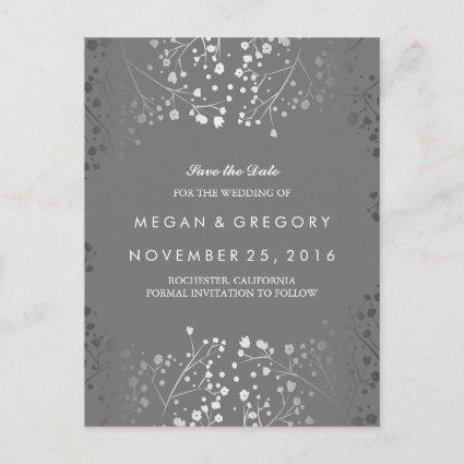 baby's breath silver and grey save the date announcement