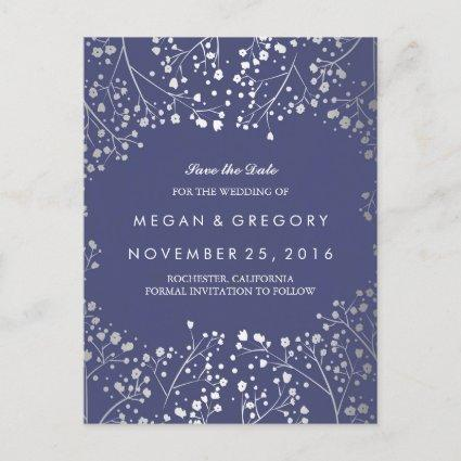 baby's breath silver and navy foil save the date announcement