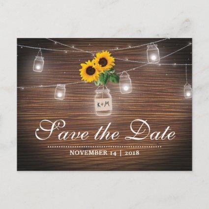 Backyard Rustic Mason Jar Sunflower Save the Date Announcement