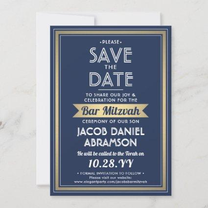 Bar | Bat Mitzvah Modern Navy Blue White Faux Gold Save The Date