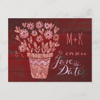 Barn Red and RoseGold Save the Date Announcements Cards