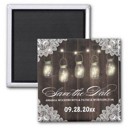 Barn Wood and Lace Mason Jar Wedding Save the Date Magnet