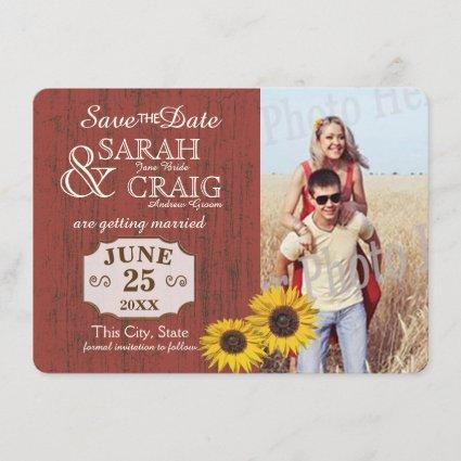 Barn Wood and Sunflower Photo Save the Date