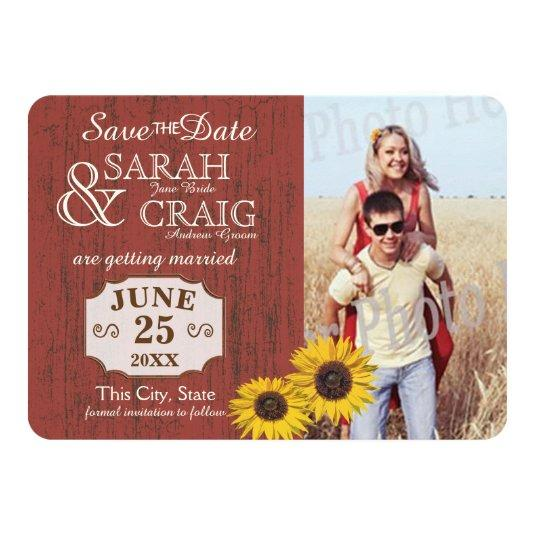 Barn Wood and Sunflower Photo Save the Date Card