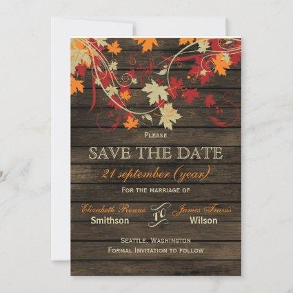 Barn Wood Rustic Fall Leaves Wedding save the date