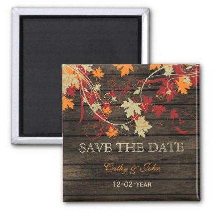 Barn Wood Rustic Fall Leaves Wedding save the date Magnets