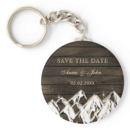 Barn wood Rustic Mountains Save the  Date Keychain