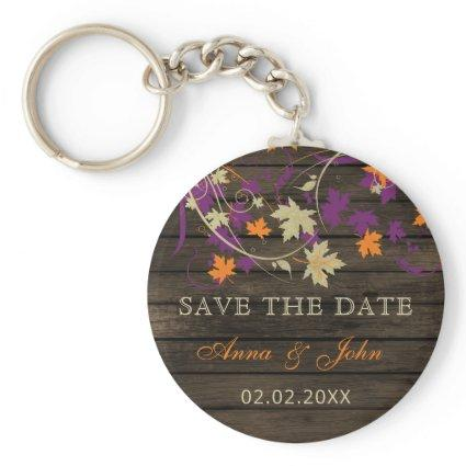 Barn Wood Rustic Plum Fall Leaves Save The Date Keychain