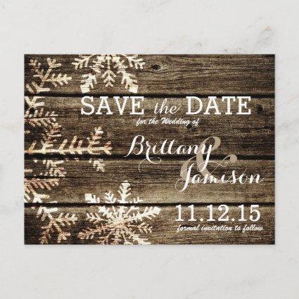 Barn Wood Snowflakes Rustic Winter Save the Date Announcement