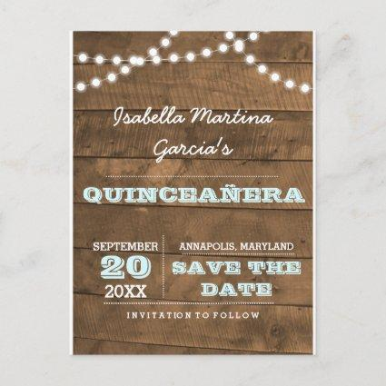 Barnwood Lights Aqua Quinceañera Save the Date Announcements Cards