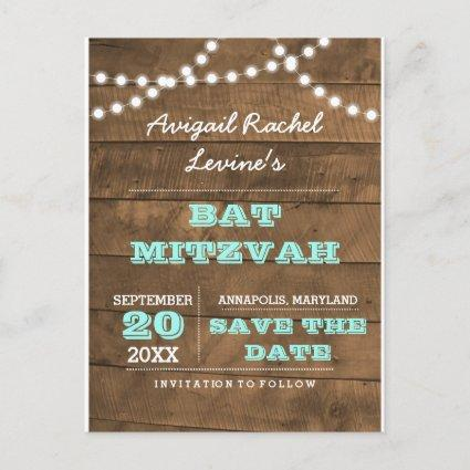 "Barnwood Lights B""H Teal Bat Mitzvah Save the Date Announcements Cards"
