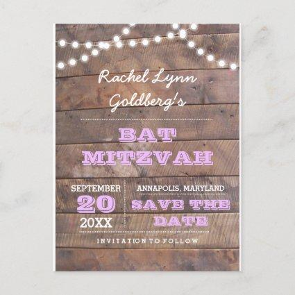 Barnwood Lights Lilac Bat Mitzvah  Announcements Cards