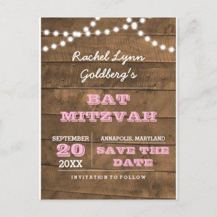 Barnwood Lights Pink Bat Mitzvah Save the Date Announcements Cards