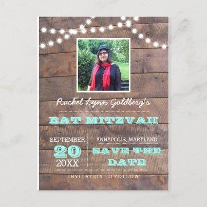 Barnwood Lights Teal Bat Mitzvah Photo Save Date Announcement