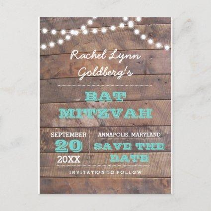 Barnwood Lights Teal Bat Mitzvah  Announcements Cards