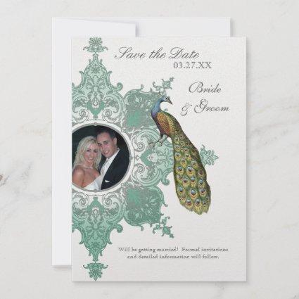 Baroque Peacock Save the Date Invite - Blue Green