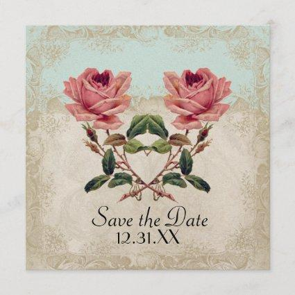 Baroque Style Vintage Rose Aqua n Cream Lace Save The Date