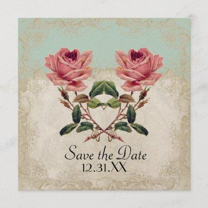 Baroque Style Vintage Rose Mint n Cream Lace Save The Date
