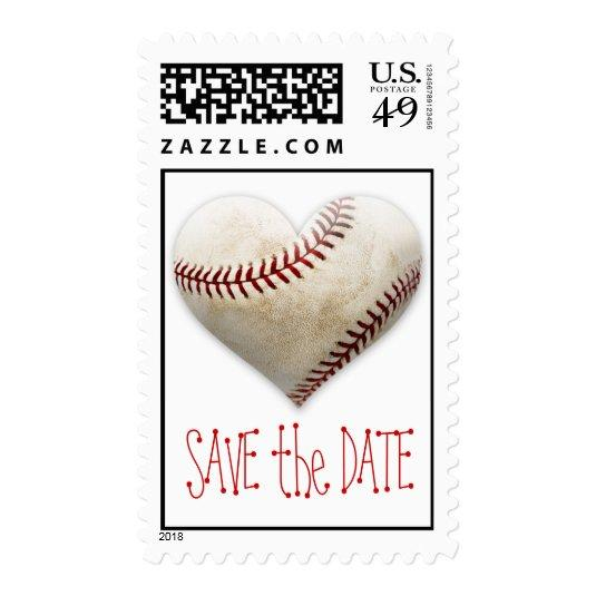 baseball heart postage stamps save the date cards