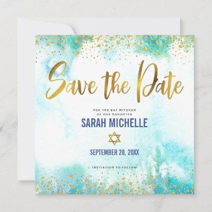 Bat Mitzvah Girly Turquoise Watercolor & Gold Foil Save The Date