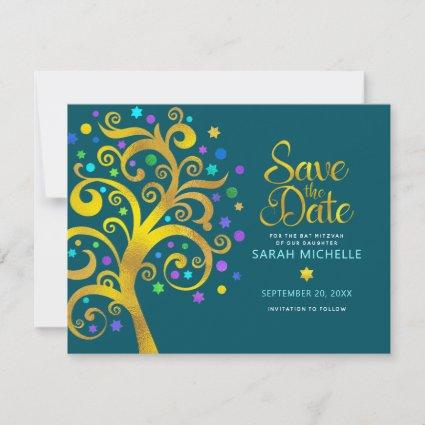 Bat Mitzvah Gold & Blue Foil Tree of Life on Teal Save The Date