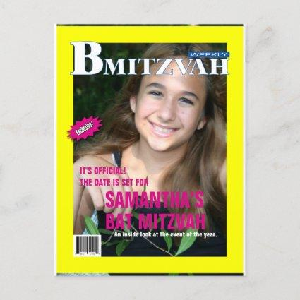 Bat Mitzvah Magazine Save the Date Yellow Pink Announcement
