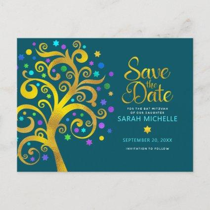 Bat Mitzvah Save the Date Gold Tree of Life, Teal Invitation