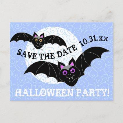 Bats Moon Halloween Party Save the Date Invitation