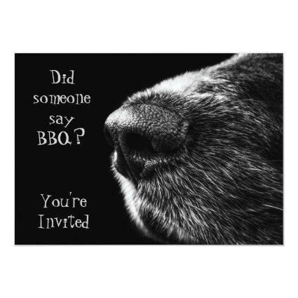 BBQ invitation dog nose black and grey