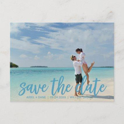 Beach Blue Save the Date Photo Announcement