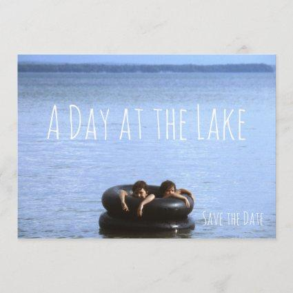 Beach, Day at the Lake Swimming Beach Party Save The Date