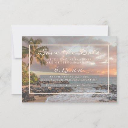 Beach Destination Save Our Date Wedding No Photo Save The Date