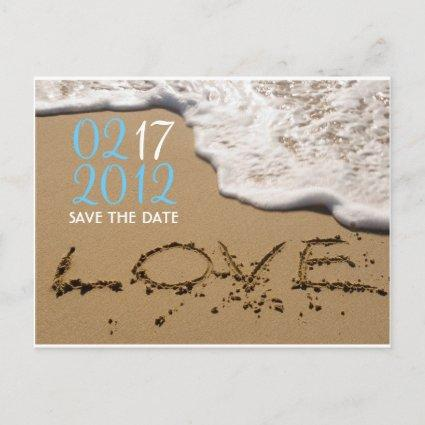 """Beach """"Love in the Sand"""" Save the Date Announcement"""