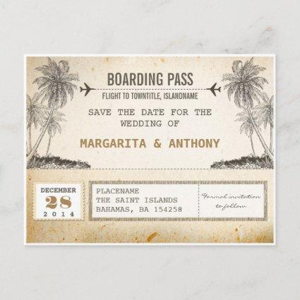 beach palms vintage boarding pass save the date announcement