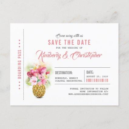 Beach Pineapple Boarding Pass Ticket Save the Date Announcement