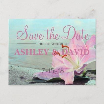 Beach Pink Flower Save The Date Cards